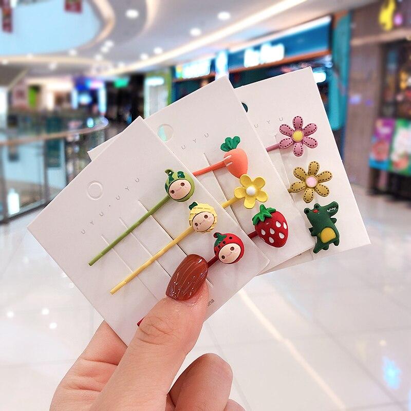 3 Pcs/Set Children Cute Candy Cartoon Fruit Flower Ornament Hair Clips Girls Lovely Barrettes Hairpins Kids Hair Accessories