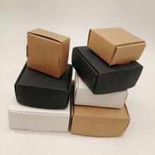 100 шт. белая/черная/крафт-бумага, Подарочная коробка, коробка из крафт-бумаги для подарков, коробка для конфет на день рождения, свадьбу, коро...