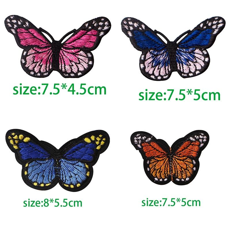 1Pcs borboleta Patches Para Vestuário Ferro Em Apliques Bordados DIY Acessórios de Vestuário Tecido Emblemas Patches Para Vestuário