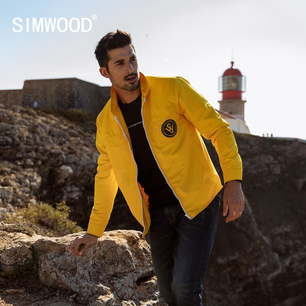 SIMWOOD 2020 Spring New Jackets Men  Back Letter Print Plus Size Yellow Casual Outerwear Brand Clothing Windbreaker SJ150015