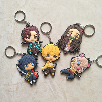 PVC schlüssel kette Anime Dämon Slayer Kimetsu keine Yaiba keychain Kamado Nezuko Tanjirou Agatsuma Zenitsu Hashibira Inosuke Schlüsselring