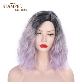 Stamped Glorious 14inch  Wave Wig Ombre Purple Hair Synthetic Short Wig for Women Ombre Red Blue Pink Cosplay Natural Hair набор ключей sata 09099