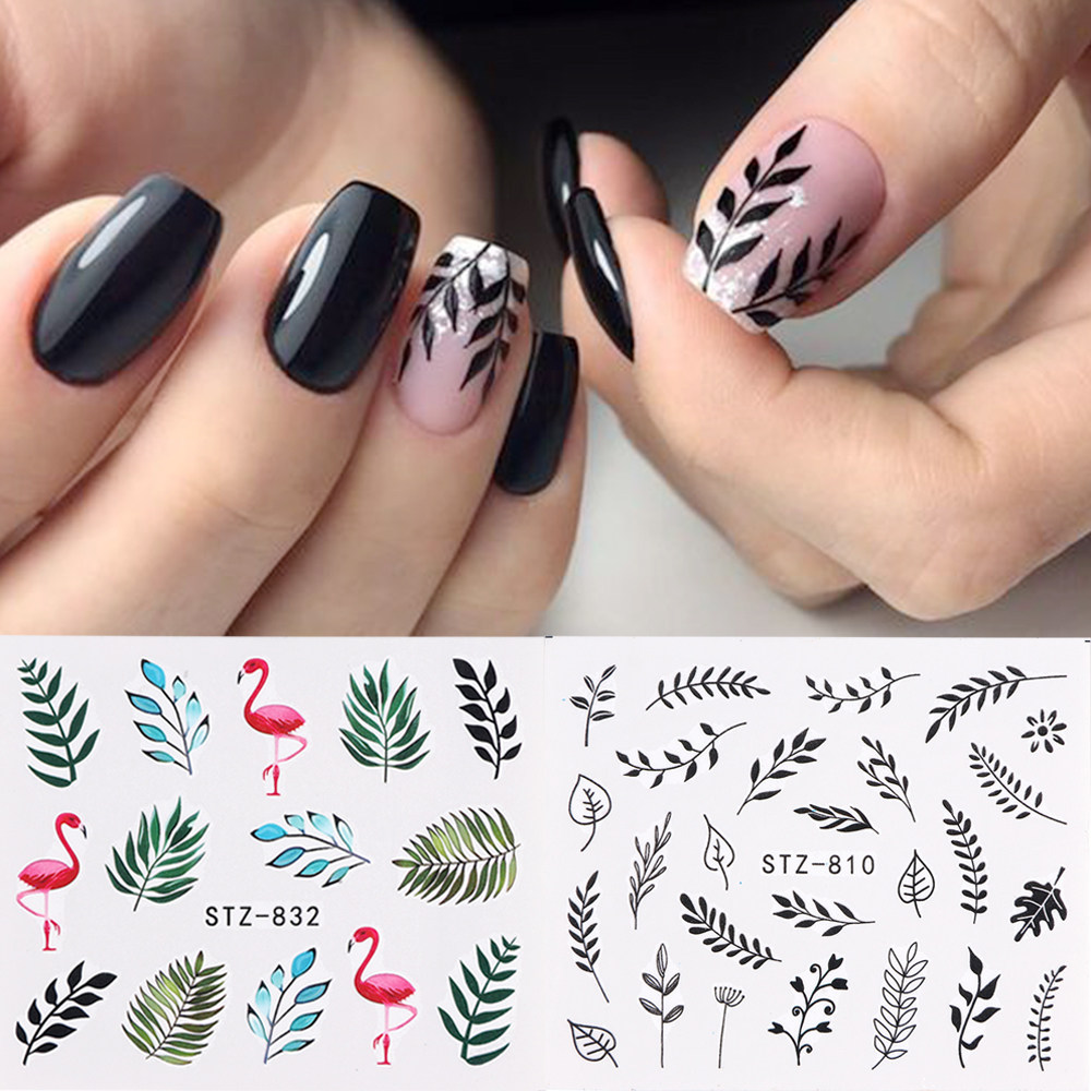 1pc Water Nail Stickers Decal Black Flowers Leaf Transfer Nail Art Decorations Slider Manicure Watermark Foil Tips SASTZ808-838