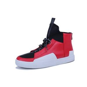 Zapatillas rojas de skateboard para hombre 2019 otoño nueva marca zapatillas deportivas para hombre blanco negro