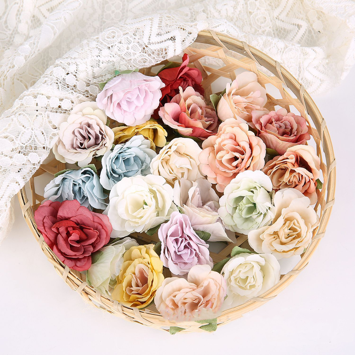 4.5CM artificial rose orchid flower head for diy wedding bouquet home wreath garland decoration accessories