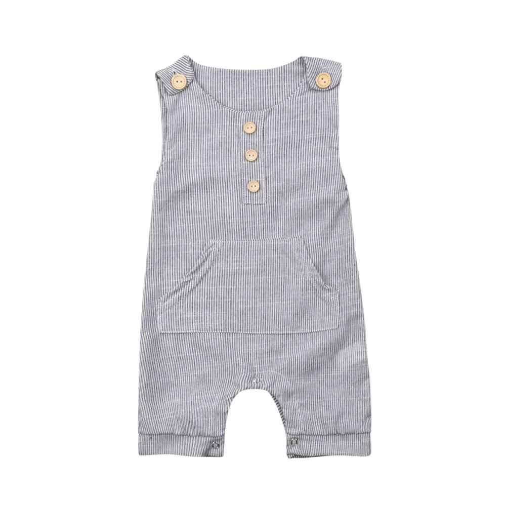 Pudcoco Newborn Baby Boy Girl One-piece Outfit Clothes Striped Sleeveless Cute Romper Casual Buttons Jumpsuit for 0-18M Baby