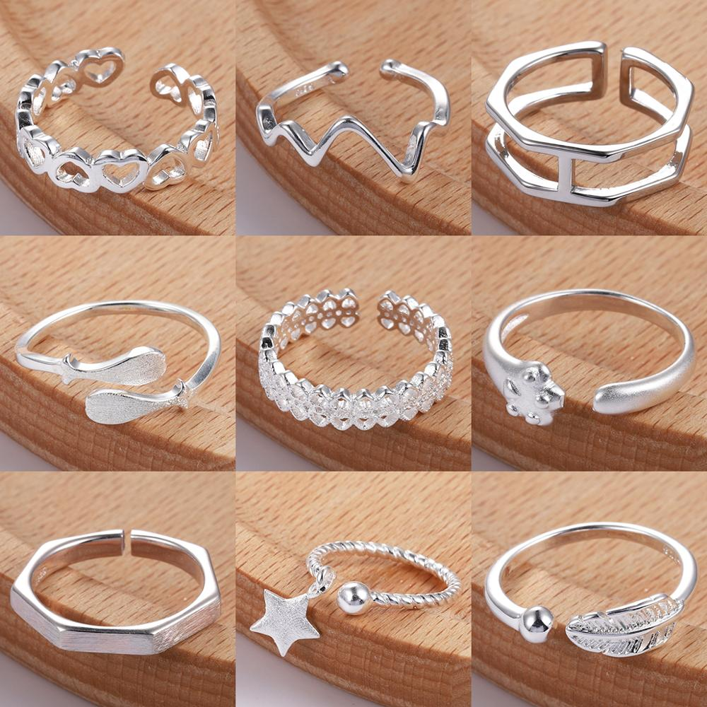 Silver Toe Rings For Women Knuckle Finger Ring Adjustable Bague Femme Anillos Mujer Bohemia Beach Foot Accesories Retro Jewelry