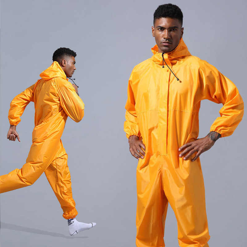 Waterproof Overalls Hooded Rain Coveralls Work Clothing Dust-proof Paint Spray Unisex Raincoat Workwear Safety Suits S-XXXL