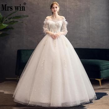 Mrs Win Wedding Dress 2020 Three Quarter Sleeve Boat Neck Ball Gown Princess Luxury Lace Beading Wedding Gowns