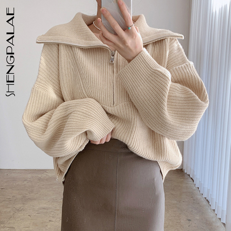 SHENGPALAE 2021 Spring Women's Sweater Fashion Thick Warm High neck Large Size Long Sleeve Zipper Knitted Pullovers Tops 5A311