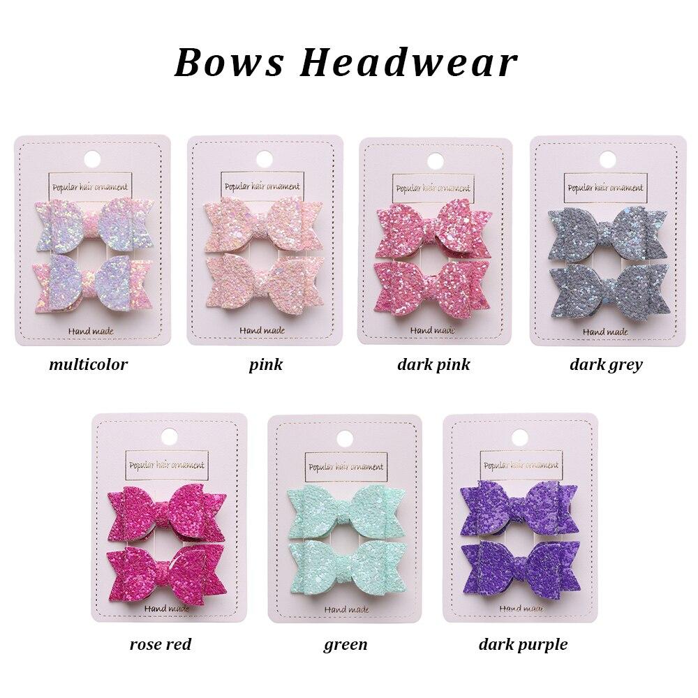 2pcs//set Cute Bows Hairpins Double Layer Sequins Bow Kids Hair Clips Headdress