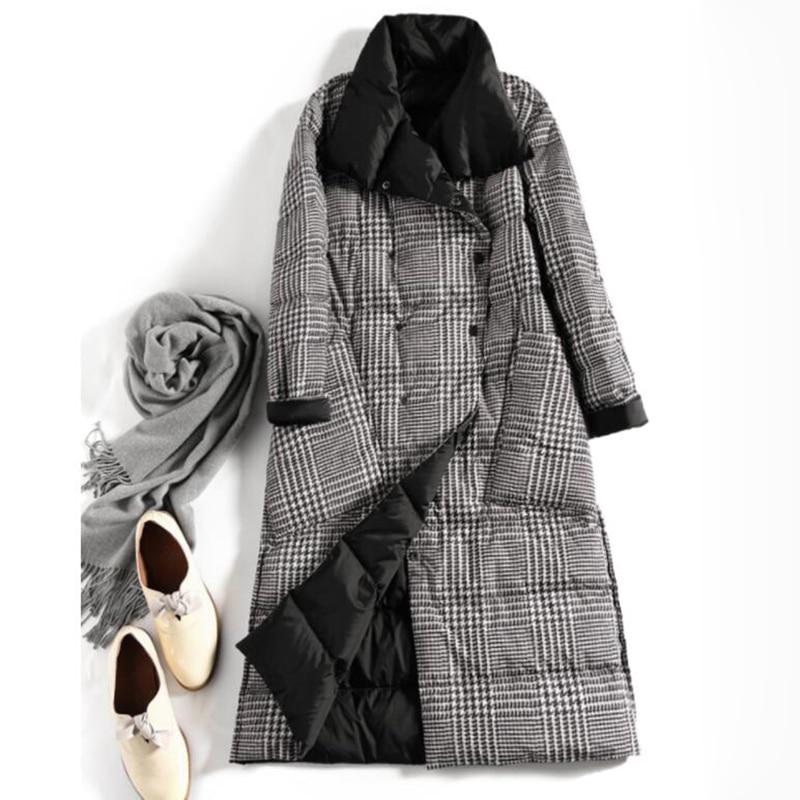 SEDUTMO Winter Long Plus Size 5XL Womens Down Jackets Ultra Light Coat Thin Double Sided Plaid Spring Slim Puffer Jacket ED931