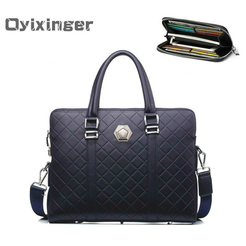 Men's Business Briefcases Men Leather Handbag New Design Coded Lock Shoulder Bag Male Double Zipper Anti-theft Office Bags Work