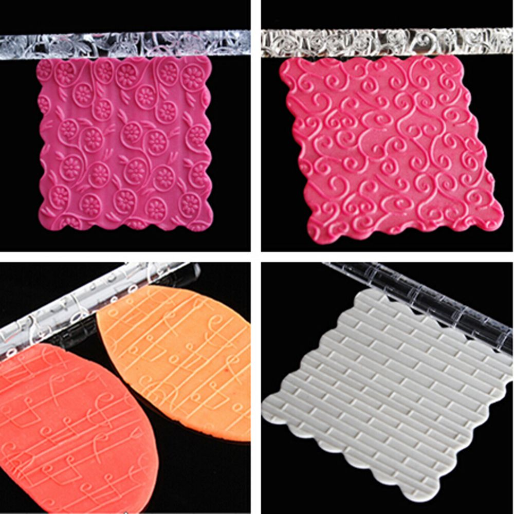 1PC Food-grade Acrylic Carved Embossing Rolling Pin for Decorating Fondant Cake/Cookies 3