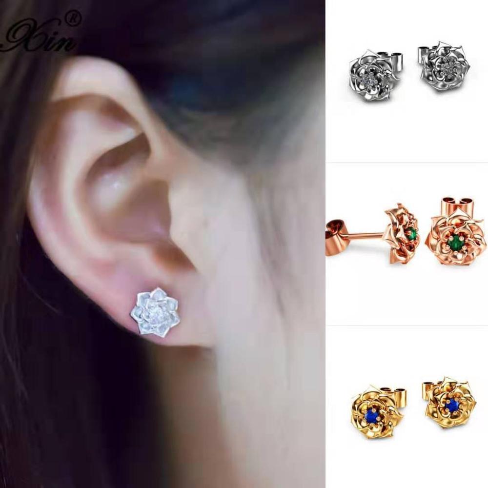 Girls Cute Rose Flower Earrings White Gold Rose Gold Color Blue Green Crystal Stone Small Round Stud Earrings For Women Wedding