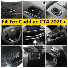 Przycisk podnoszenia okna/kierownica/miska z uchwytem/biegów Panel wygląd włókna węglowego pokrywa zgrabna Fit dla Cadillac CT4 2020 2021