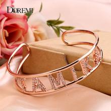 DOREMI Crystal Hollow Name Bangle with stone Bar Bracelet Custom Name Personalized Bracelets Rhinestone for Actual Pictures
