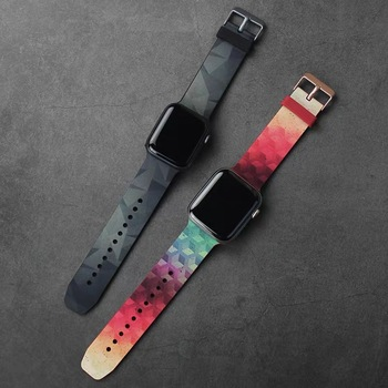 Painted Pattern Sport Silicone Soft Strap For Apple Watch Band 38mm 40mm 42mm 44mm Apple iWatch Bracelet Series 1 2 3 4 5 6 SE