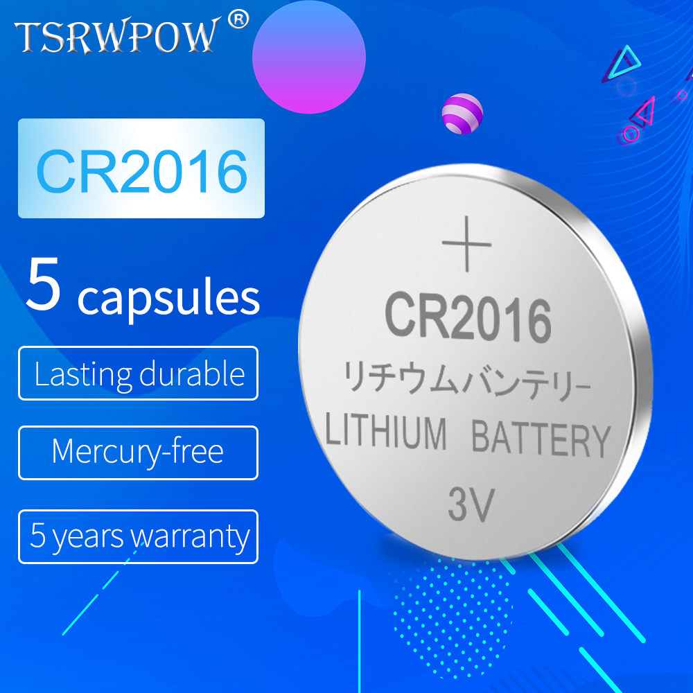 5pcs TSRPOW 3V CR 2016 Button Batteries CR2016 LM2016 BR2016 DL2016 Cell Coin Lithium Battery For Electronic Clock Toys Watches image