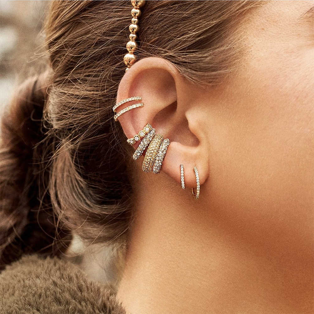 Nowe mody koło wieżowych kolczyk na chrząstkę dla kobiet urok CZ kryształ Huggies Ear Cuff kobiet obręcze okrągłe biżuteria