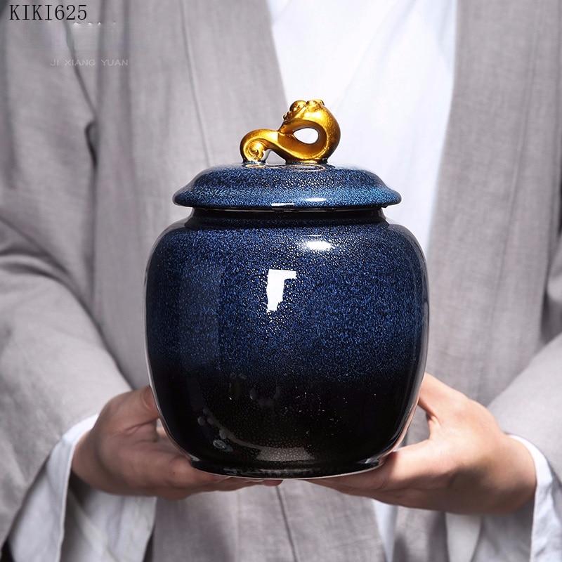 Creative Gradient Blue Ceramic Storage Jar Vase Flower Arrangement Container with Lid Candy Tea Caddy Countertop Room Decoration