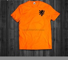 T Shirt Netherlands Classic Lion Logo Holland Dutch Cruyff Van Basten Soccer Newest O-Neck Cotton Comfortable Homme Tee Shirt(China)