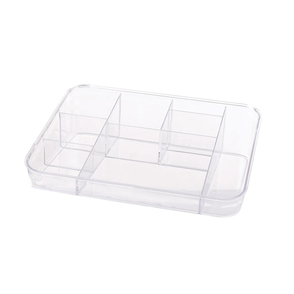 Transparent Multi-compartment Storage Box Dressing Table Cosmetics Organizer Desktop Plastic Finishing Makeup Box