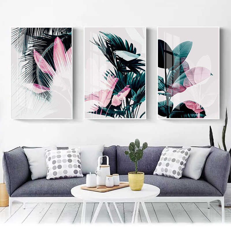 Nordic Decoration Green Leaf Canvas Abstract Painting Plants Wall Art Poster and Print Wall Pictures for Living Room Home Decor