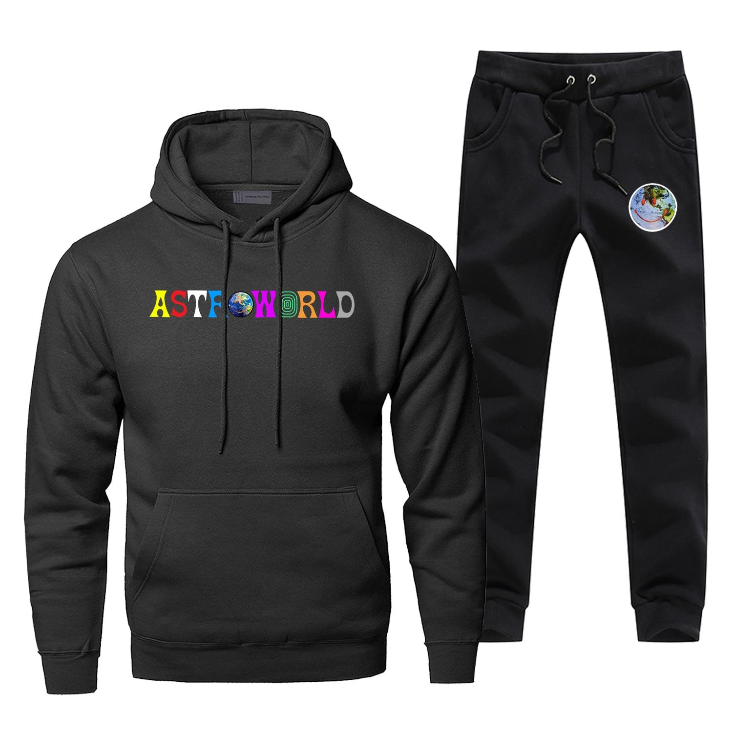 Hoodies Astroworld Smile Pants Set Men Defend The Earth Hoodie Sweatshirt Men Hoodies Pollover 2 Pcs Streetwear Male Sweatshirts