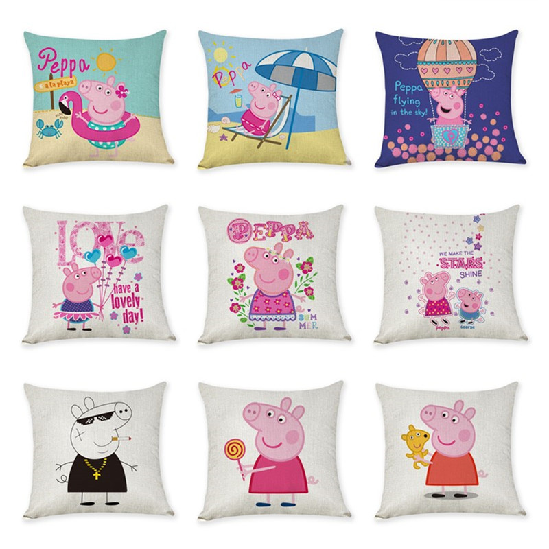 45cm Peppa Pig Cute Hemp Pillowcase Children's Toys Sofa Cushion Hug Pillowcase Peppa Pig Action Figure Children Birthday Gift