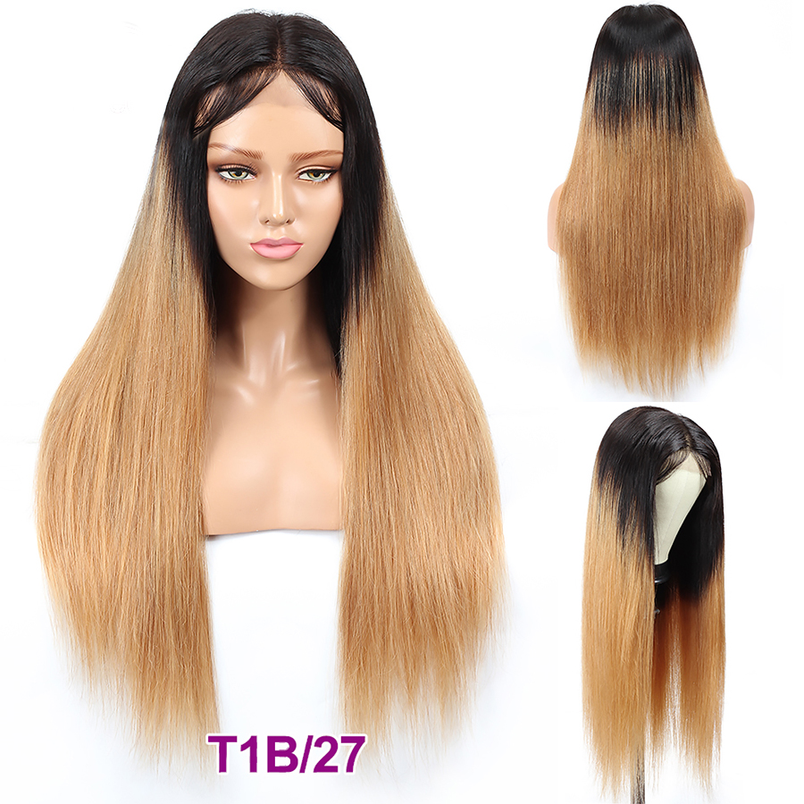 Fashion Lady 1b/27 Ombre Brazilian Lace Closure Wig 4x4 Lace Dark Blonde Human Hair Wigs For Black Women