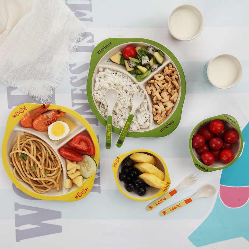 Hamster BiuZi 5Pcs//Set Bambusfaser Cartoon Geschirr Set Smooth Kids Dishes Bowl Cup Teller Sets f/ür Kleinkinder Baby Kids Babygeschirr