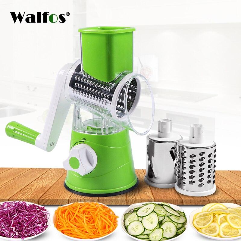 WALFOS Manual Vegetable Cutter Slicer Multifunctional Round Mandoline Slicer Potato Cheese Kitchen Gadgets Kitchen Accessories