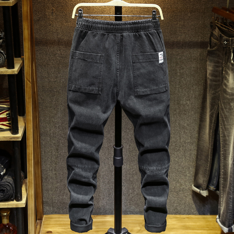 Men Black Casual Pants Ribbons Plus Size Mens Big Harem Cargo Pants Male Spring Streetwear Overalls Sweatpants Large Size 48 7XL