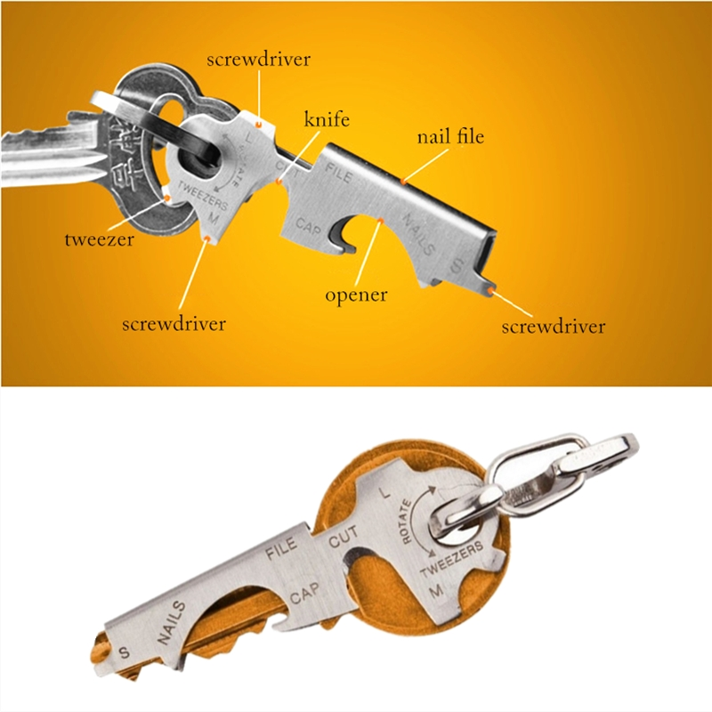 8 в 1 многофункциональные инструменты Портативный Нержавеющаясталь многофункциональный карманный инструмент брелок для выживания на при...
