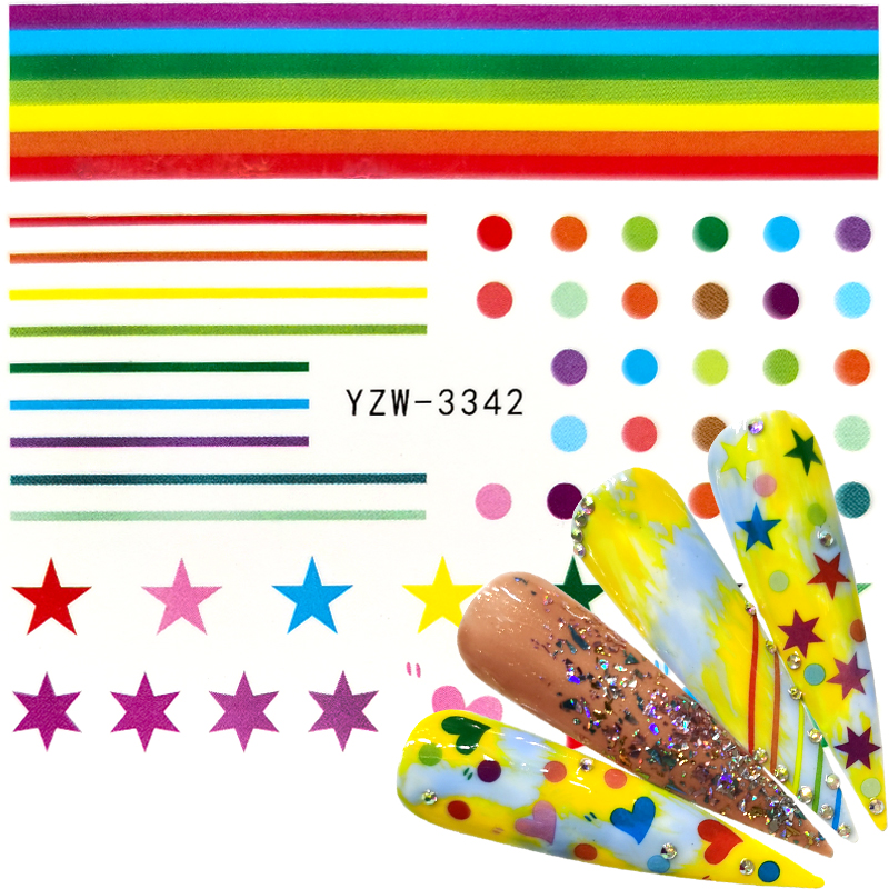 YZWLE 1 PC Nail Stars/Dots / Lines Stickers Glitter Shiny Decoration Decal DIY Transfer Adhesive Colorful Nail Art Tips Manicure