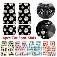 Car Floor Mats 4 in 1 Daisy Pattern Universal Printing Auto Car Floor Mat Set Auto Interior Styling Waterproof Car Carpet Covers цена 2017