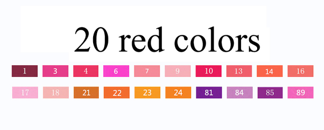 20 red colors