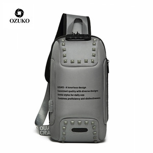 Image 2 - Brand Sling Waterproof Rivet Men Chest Bags Anti Theft Password Lock USB Charging Port Women Shoulder Bag Reflective