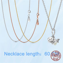 HOT Sale 925 Sterling Silver Classic Cable Chain Rose Gold Yellow Gold Color Necklace Chain Sterling Silver Jewelry Gift