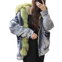 2019 Denim Parka Real Fox Fur Collar Women Winter Natural Fox Fur Thick Lining Thick Warm Outerwear Ladies Real Fur Coat