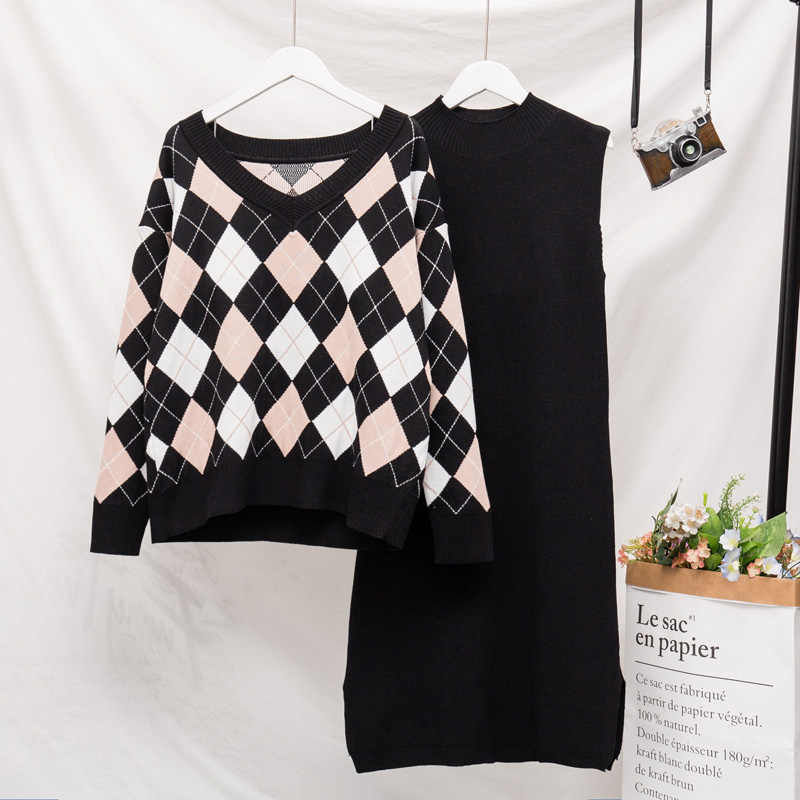Женская одежда большого размера вязаный свитер + платье без рукавов комплект из двух предметов на осень 2019