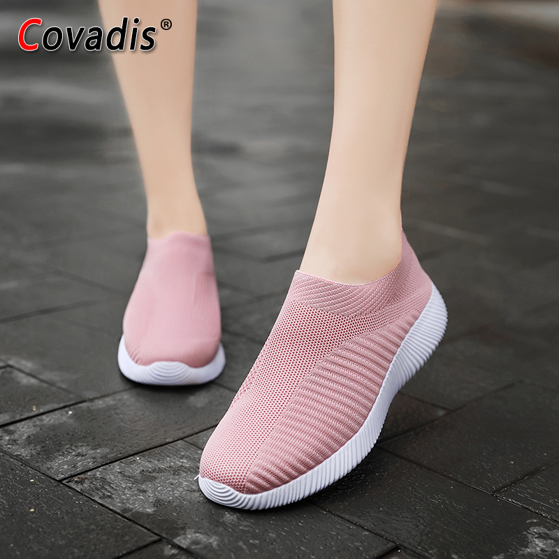 Women Light Running Shoes Knitting Sock Sneakers Women 35 43 Plus Size Outdoor Walking Breathable Sport Shoes in Running Shoes from Sports Entertainment