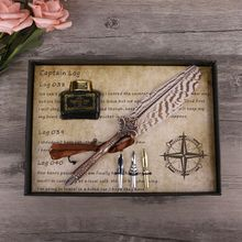 Antique Quill Feather Dip Pen Writing Ink Set Stationery Gift Box Fountain Pen