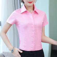 Womens Tops and Blouses Cotton Women Shirts Short Sleeve Pink/White Women Blouse
