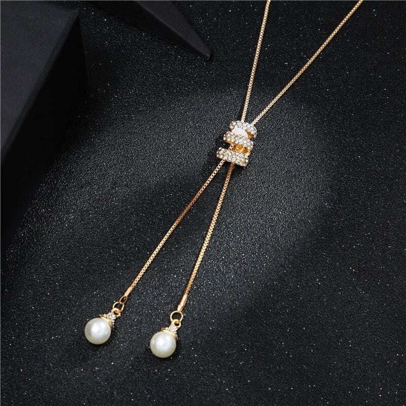 Высокое качество, модное металлическое серебряное длинное ожерелье с кисточками, хрустальное жемчужное ожерелье с длинной цепочкой, ожерелье для свитера, ювелирные изделия - Окраска металла: gold