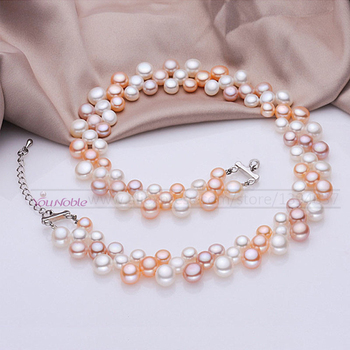 3 row natural freshwater choker multi layer pearl necklaces women,real necklace wedding collar mom birthday gift - discount item  40% OFF Fine Jewelry