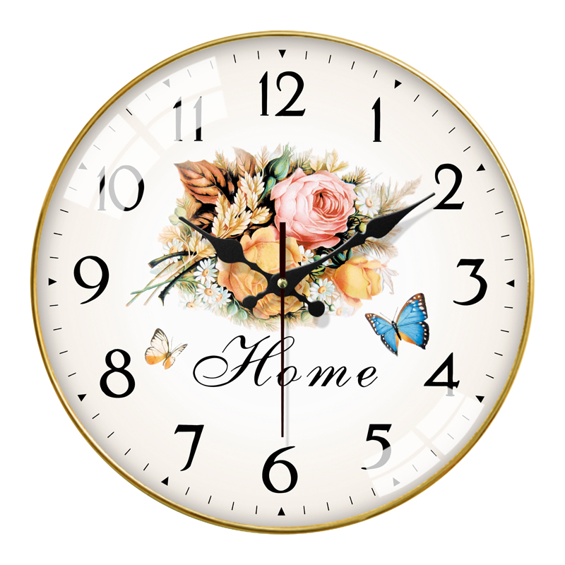 European Art Mute Wall Clock Kitchen Living Room Clock Mechanism Gold Retro Clock Creative Saat  Wall Watches Home Decor B50