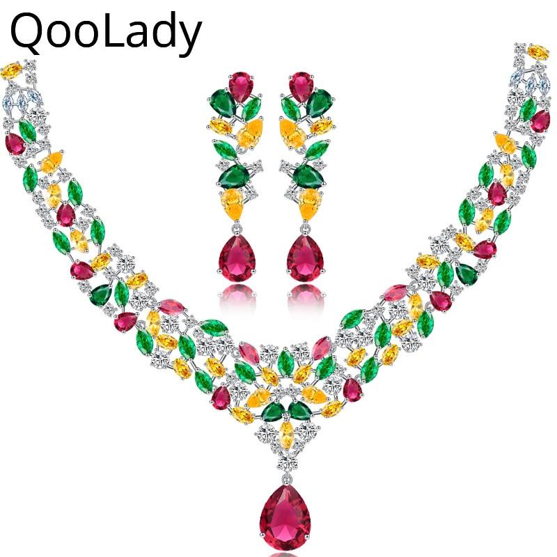 QooLady luxe multicolore rouge vert jaune CZ pierre goutte d'eau grand collier boucle d'oreille mariage Costume ensembles de bijoux pour les mariées Z012