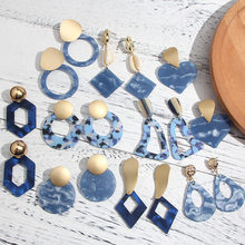 Korean Style Blue Acrylic Drop Earrings for Women 2020 New Fashion Gold Metal Big Dangle Earrings Statement Jewelry Party Gift недорого
